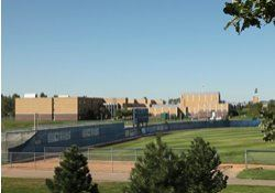 Eastview high school building and ballfield