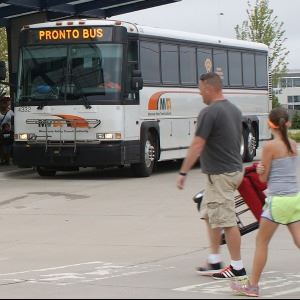 MVTA Pronto Fair Bus at station with riders