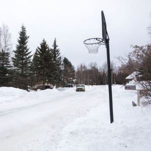 Basketball Hoop in Street during snow