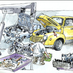 drawing of auto mechanic working on cars in a garage