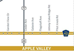 map of County Road 42 through Apple Valley