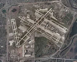 aerial view of MSP airport property and runways