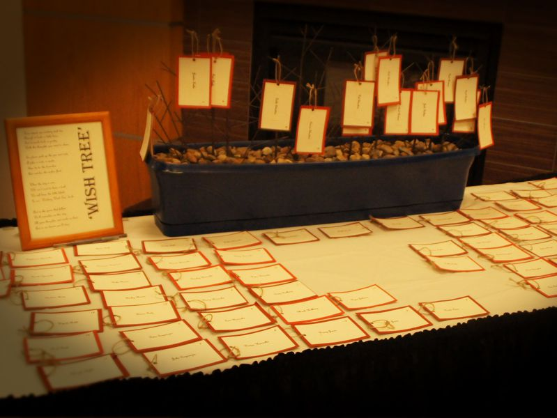 greeting table with name tags for guests