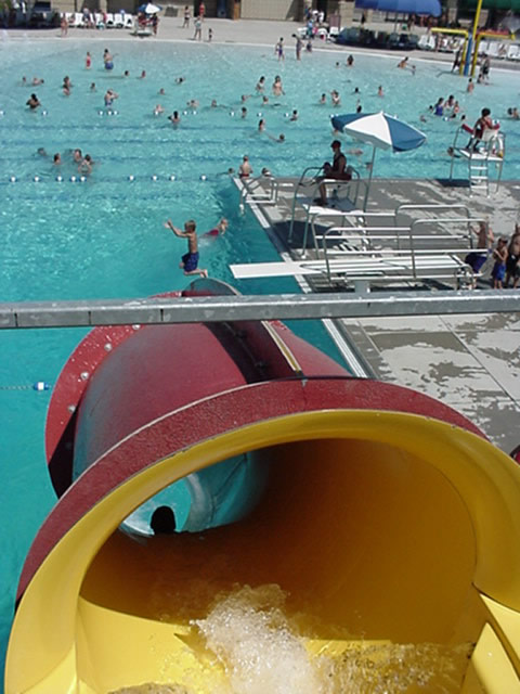 View from top of drop slide overlooking main pool
