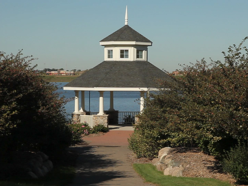 Park gazebo and lake