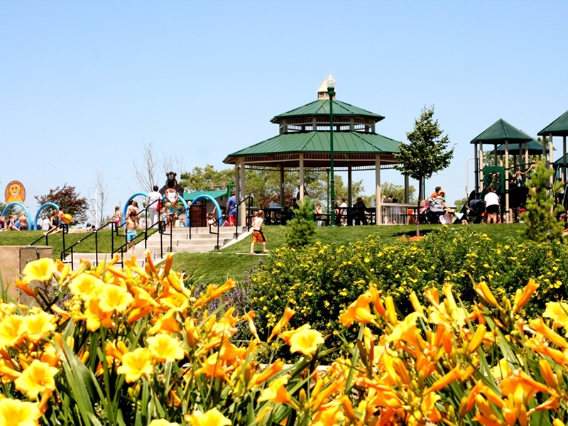 Park with gazebo and flowers