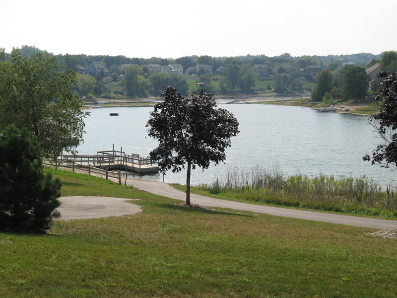 Park along lake and fishing dock