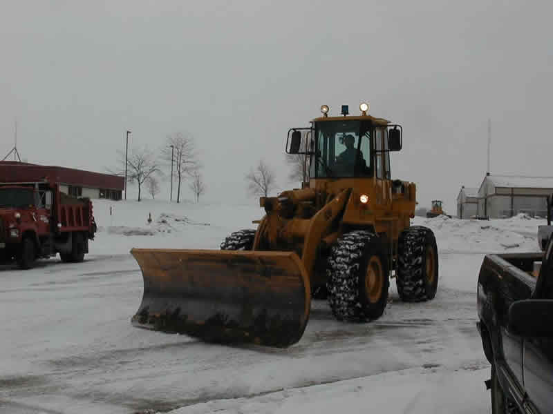 Loader in snow removal operation