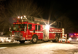 Ladder truck at night